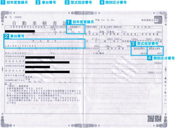 自動車の車検証をご確認ください。初年度登録月、車台番号、型式指定番号、類別区分番号